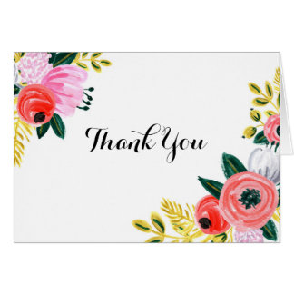 Handpainted Floral Thank you card