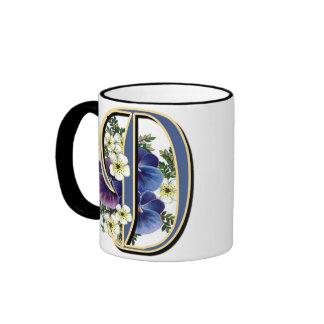 Handpainted Pansy IInitial - D Ringer Mug