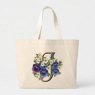 Handpainted Pansy Initial - J Large Tote Bag