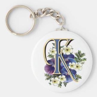 Handpainted Pansy Initial - K Key Ring