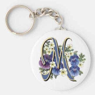 Handpainted Pansy Initial Monogram -  M Basic Round Button Key Ring