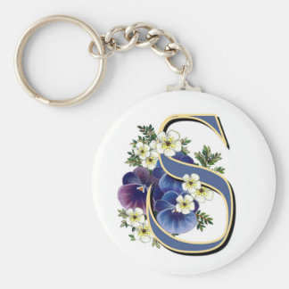 Handpainted Pansy Initial Monogram - S Basic Round Button Key Ring