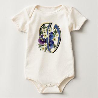 Handpainted Pansy Initial Monogram - V Baby Bodysuit