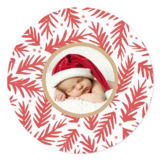 Handpainted Pine Christmas Photo Card