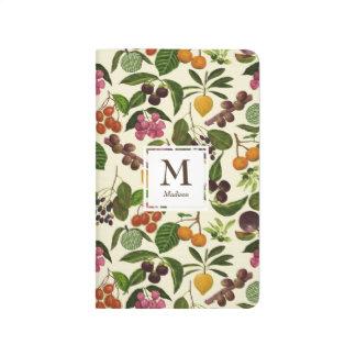 Handpainted Rustic Tropical Fruits Monogram Journal