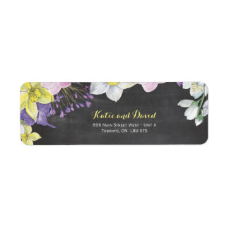 Handpainted water color narcissus daffodil wedding return address label