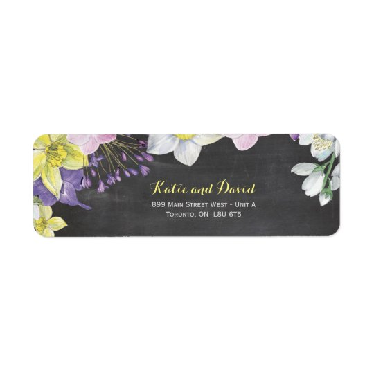 Handpainted water colour narcissus daffodil return address label