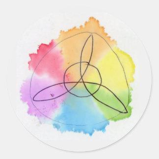 Handrawn Rainbow Triquetra Classic Round Sticker