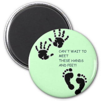 Hands and Feet Green 6 Cm Round Magnet