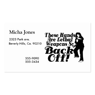 Hands Are Lethal Weapons Female Martial Artist Pack Of Standard Business Cards