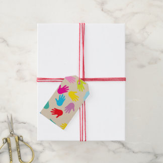 Hands around the world gift tag