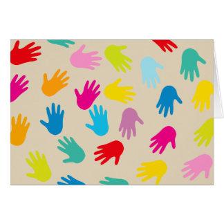 Hands around the world greeting card