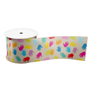 Hands around the world ribbon satin ribbon