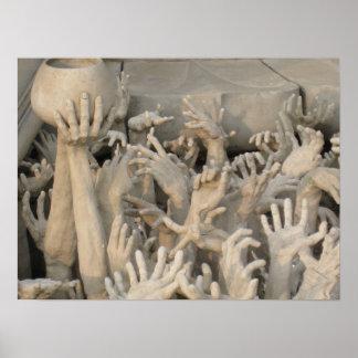 Hands at Wat Rong Khun Poster