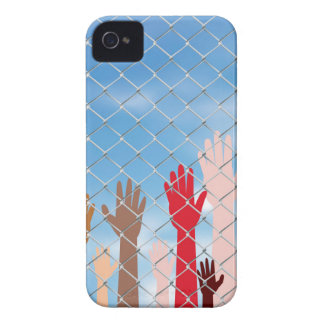 Hands Behind a Wire Fence iPhone 4 Covers