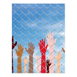 Hands Behind a Wire Fence Postcard