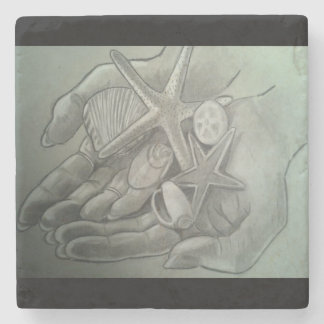 Hands Full of Shells Marble Coaster