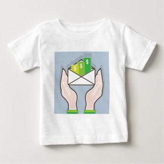 Hands giving receiving checks inside an envelope t shirt