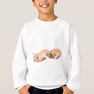 Hands holding model human brain on white sweatshirt