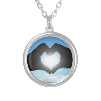 Hands in Heart Shape Silhouette on Blue Sky Round Pendant Necklace