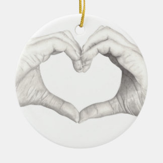Hands in Shape of a Heart Ceramic Ornament