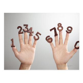 hands&numbers,hands close-up postcard