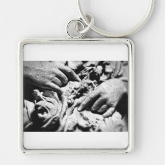 Hands of an Angel Silver-Colored Square Key Ring