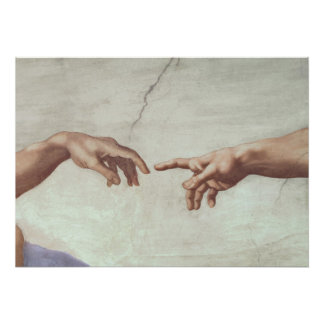 Hands of God and Adam Poster