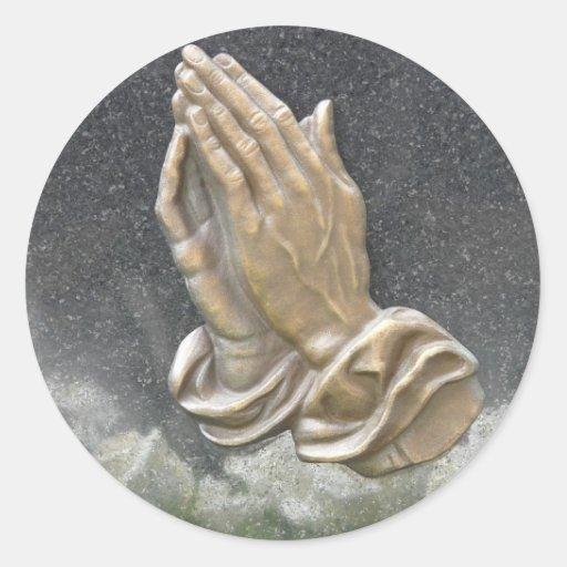 HANDS OF PRAYER ROUND STICKERS