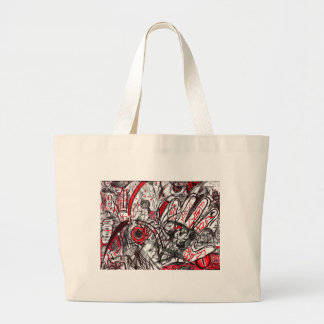 Hands of Rage Pen Drawing Large Tote Bag
