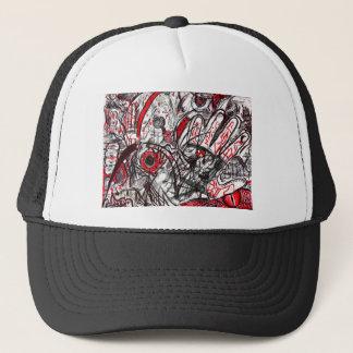 Hands of Rage Pen Drawing Trucker Hat