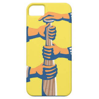 Hands on Baseball Bat in yellow and blue Case For The iPhone 5