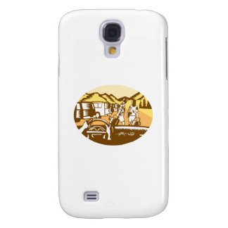 Hands on Wheel Tourist Mountain Oval Woodcut Galaxy S4 Cover