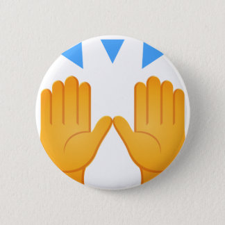 Hands Raised Emoji 6 Cm Round Badge
