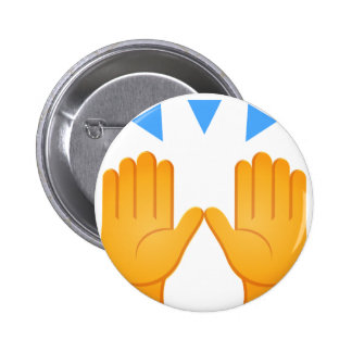 Hands Raised Emoji 6 Cm Round Badge