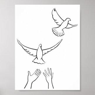 Hands Releasing Doves Poster
