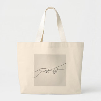 Hands showing the creation of Adam Jumbo Tote Bag