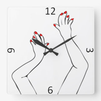 Hands Square Wall Clock