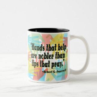 """Hands that help..."" Two-Tone Coffee Mug"