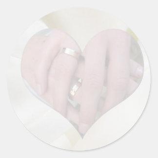 Hands Together in Satin Heart Sticker