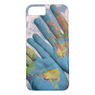 Hands world map global iPhone 7 Case