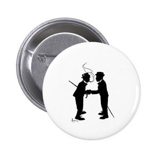 Handshake between gentlemen pinback buttons