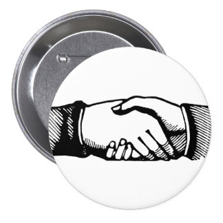 Handshake Button with Retro Vintage Hands