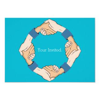 "Handshake Circle Hands Invitation 5"" X 7"" Invitation Card"
