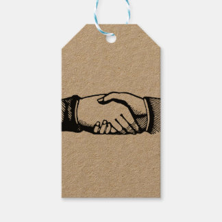 Handshake Gift Tags with Retro Vintage Hands