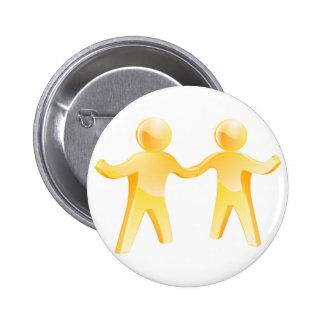 Handshake gold men pinback button