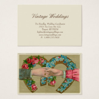 Handshake Horseshoe Vintage Rose Wedding Tag
