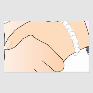 Handshake Man and Woman Rectangular Sticker