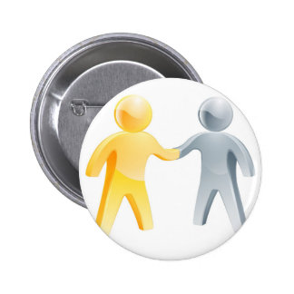 Handshake silver and gold people concept buttons