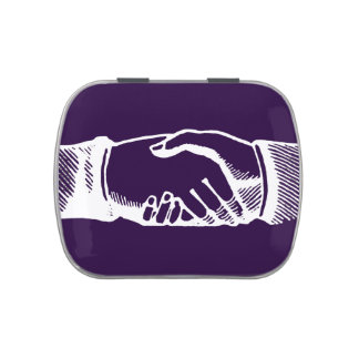 Handshake Tin with Retro Vintage Hands Jelly Belly Tin